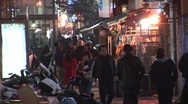 Stock Video Footage of Korean shopping street, night
