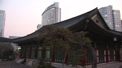 Korean Temple & skyscrapers Stock Footage
