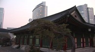 Stock Video Footage of Korean Temple & skyscrapers