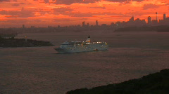 Cruise Liner Leaving Sydney Harbour Stock Footage
