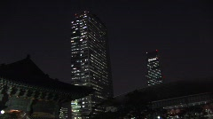 Stock Video Footage of Seoul skyscrapers, night