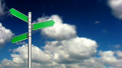 Looping clouds with signpost. HD720p. - stock footage