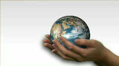 Woman holding a 3d Earth Render Stock Footage