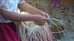 Weaving a Panama hat, Ecuador Stock Footage