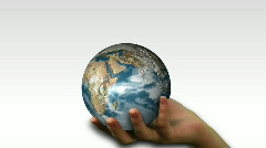 Woman holding a Globe Stock Footage
