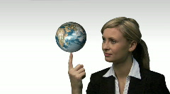 Businesswoman with the earth spinning in her hands Stock Footage