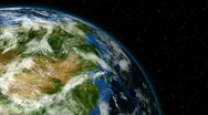 Animation of rotating earth with moving clouds, stars and comets Stock Footage