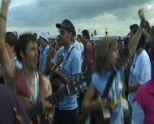 XX World Youth Day 2005 in Cologne. Vigil on the Marienfeld Stock Footage