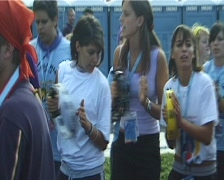 XX World Youth Day 2005 in Cologne. Pilgrims singing at the Vigil Stock Footage