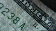 Extreme macro - 5 dollar bill - 6 Stock Footage
