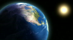 Earth and Sun Zoom-in Orbit Stock Footage