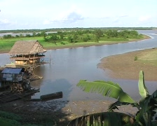 View over the Rio Amazonas from Iquitos, Peru Stock Footage