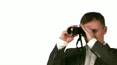 Businessman with monocle Stock Footage