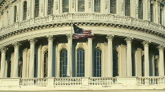 US Capitol Building Dome and American Flag in Washington DC Stock Footage