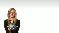 Businesswoman holding the world Stock Footage