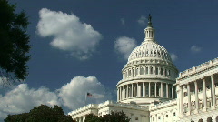 US Capitol Building with American Flag Stock Footage