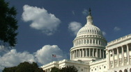 Stock Video Footage of US Capitol with American Flag