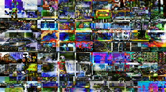 Multimedia technology computer video screens information data television Stock Footage