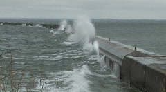 High waves crash against breakwall on Lake Superior HD Stock Footage
