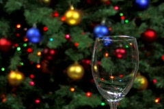 Serving red wine with holiday decorations  Stock Footage