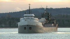 Great Lakes freighter turns slowly in harbor HD Stock Footage