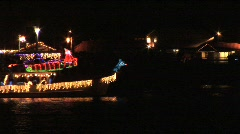Boat decorated with lights  Stock Footage