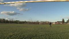 Girl kicks soccer ball HD Stock Footage