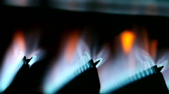 On / Off cycle of a gas furnace burners Stock Footage