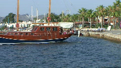 Traditional Turkish wooden yacht Gulet in harbour - stock footage