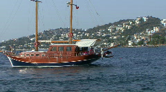 Traditional Turkish wooden yacht Gulet in harbour Stock Footage