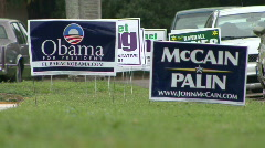 Obama McCain Campaign Signs 01 - stock footage