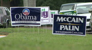 Stock Video Footage of Obama McCain Campaign Signs 01