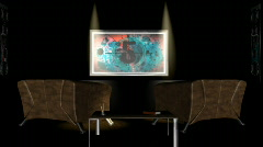 Interior Room,TV Countdown,projector sound Stock Footage