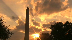 Washington Monument at Sunset, time lapse - Washington DC Stock Footage