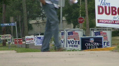 Polling Place Campaign Signs 02 Stock Footage