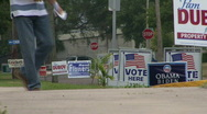 Stock Video Footage of Polling Place Campaign Signs 02
