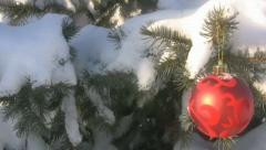 Outdoor Christmas Decoration In Snow Stock Footage