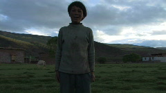 2 Children singing in Tibet. Stock Footage