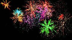 Many colored fireworks Stock Footage