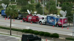Fast Pace Action News Trucks Stock Footage