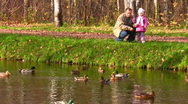 Stock Video Footage of senior with child near pond with ducks