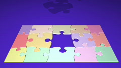 Problem solving jigsaw puzzle angled - stock footage