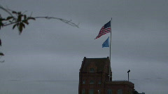 Flags On A Gloomy Day Stock Footage