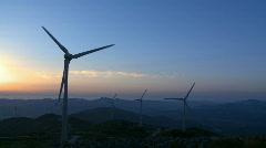 Wind Power Turbine Sunset Stock Footage