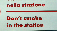 Do not smoke in the station sign in Italy Stock Footage