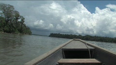 Down pour coming on the Amazon River - stock footage
