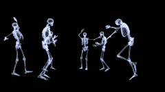Xray - Group of human skeleton dancing Stock Footage