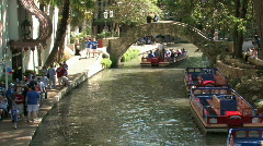 Tourist boat bridge river walk San Antonio Texas M HD Stock Footage