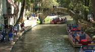 Stock Video Footage of Tourist boat bridge river walk San Antonio Texas M HD