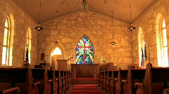 Church stained glass window zoom in M HD Stock Footage